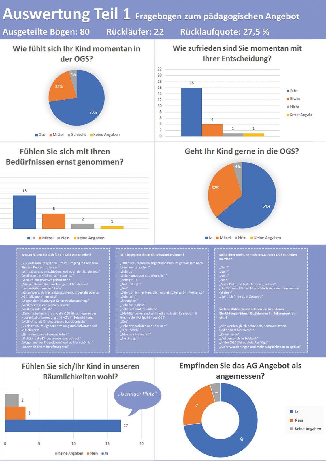 Umfrage Auswertung zum pädagogischen Angebot